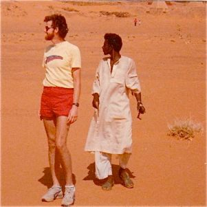 James and Mohammed in the Sahara Desert near the pyramids at Meroe, Sudan.