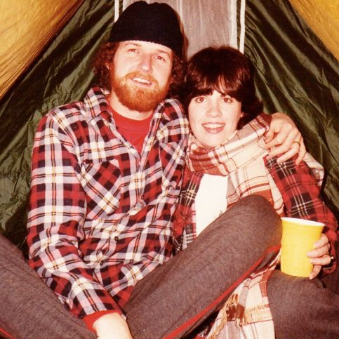 Terri and James camping years ago - trying to avoid the frisky buffalo. https://gallivance.net/2017/07/10/frisky-buffalo-in-our-tent-camp/