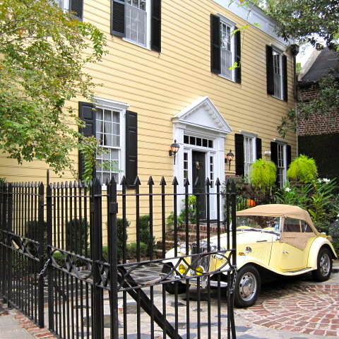 Yellow house and car