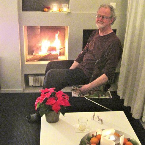 James at Fireplace