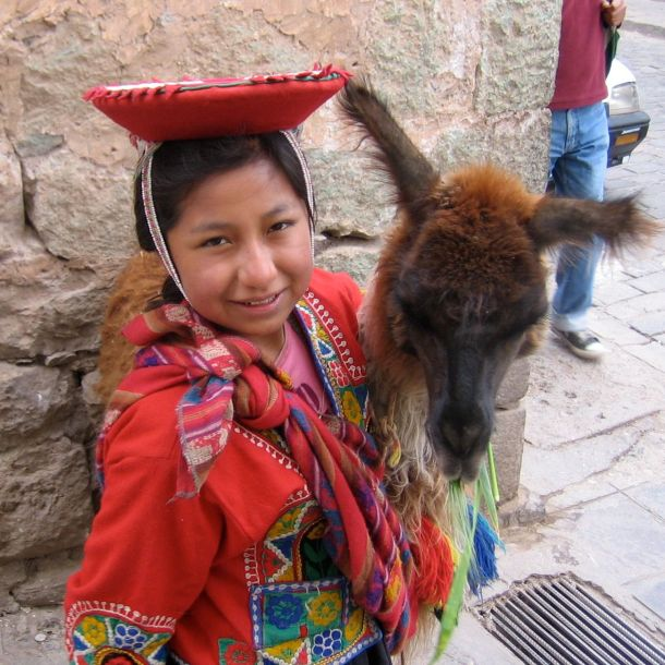 1 Girl w Llama Cusco, Peru-Sq
