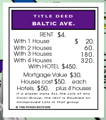 Image result for image of baltic avenue and whitechapel road in monopoly game board