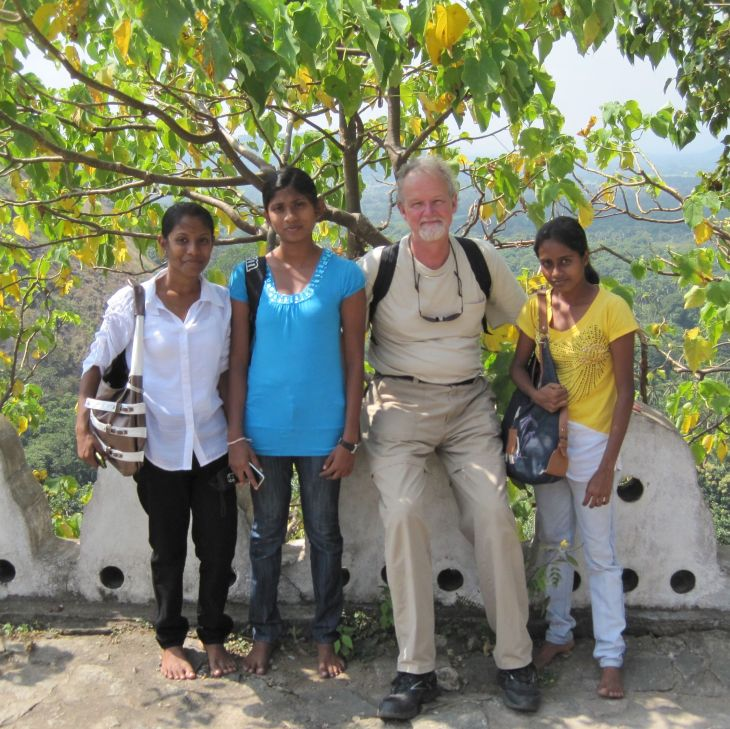 James with his new friends in Dambulla, Sri Lanka.