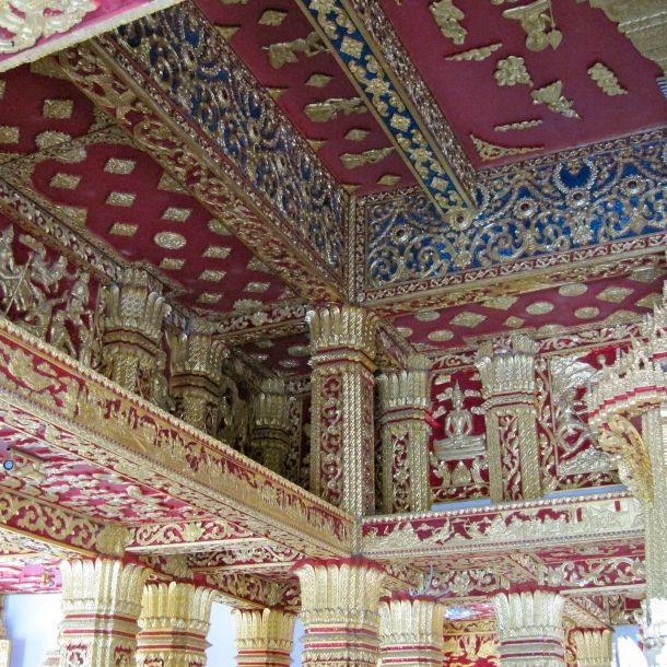 Detailed ceiling of Buddhist temple in Luang Prabang, Laos