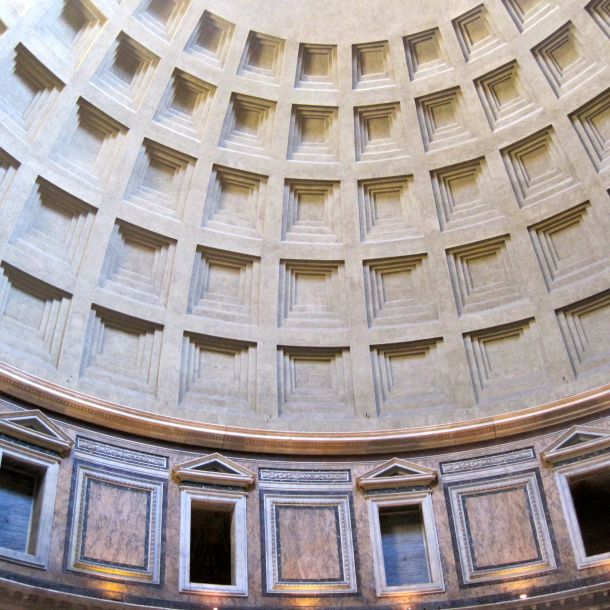Geometric ceiling of the Pantheon in Rome, Italy