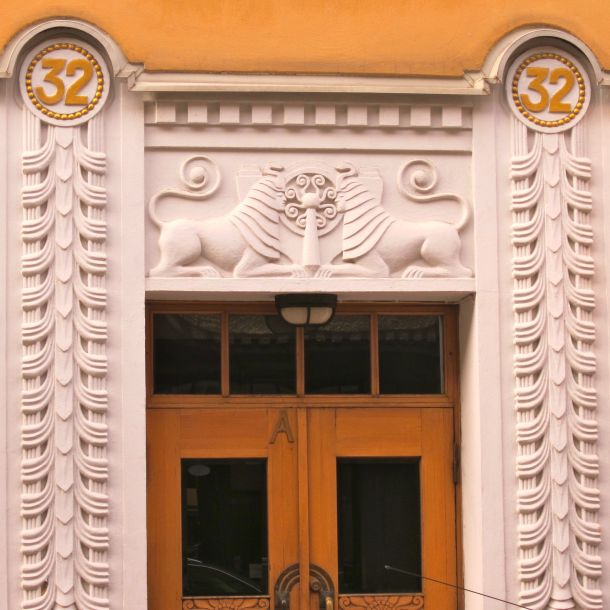 Sphinxes face off in this Helsinki, Finland doorway.
