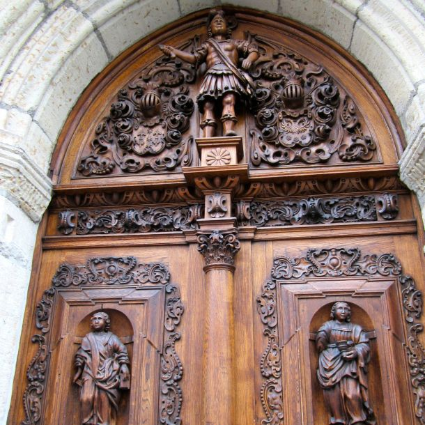 Ornately carved oak door, Tallinn, Estonia