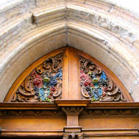 Tallinn Painted Carved Oak Door