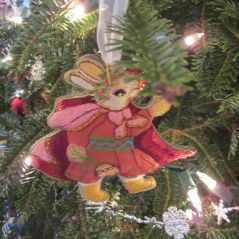 Joan Rabbit. My great friend Joan Crawford made this ornament for me when we all lived in Sudan. The hand stitching is glorious!