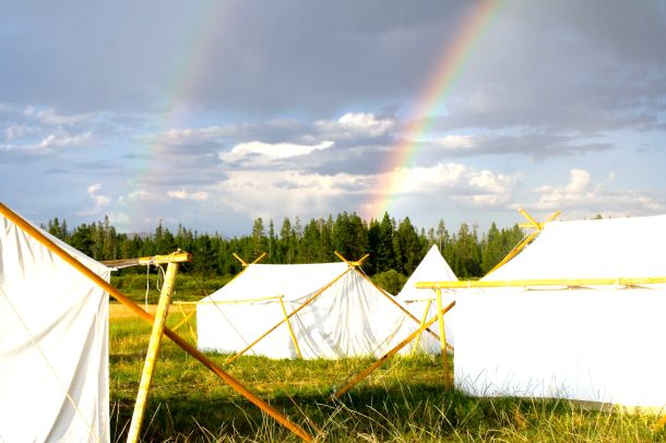 Tents with rainbow