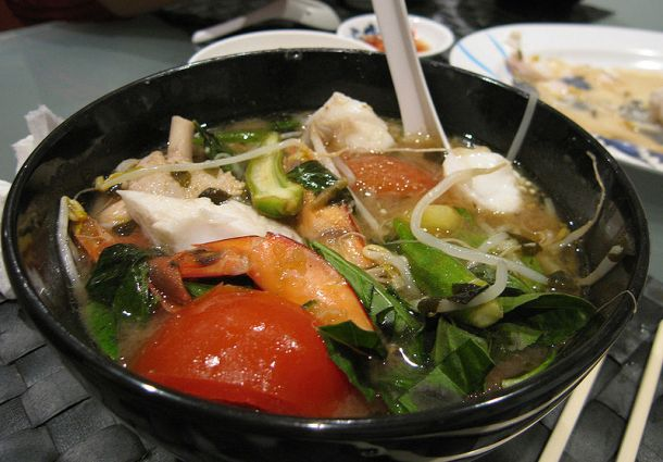 A bowl of canh chua (Vietnamese hot and sour soup)