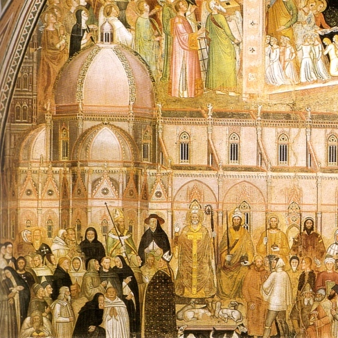 The Duomo, as if completed, in a fresco by Andrea di Bonaiuto, painted in the 1390s, before the commencement of the dome.
