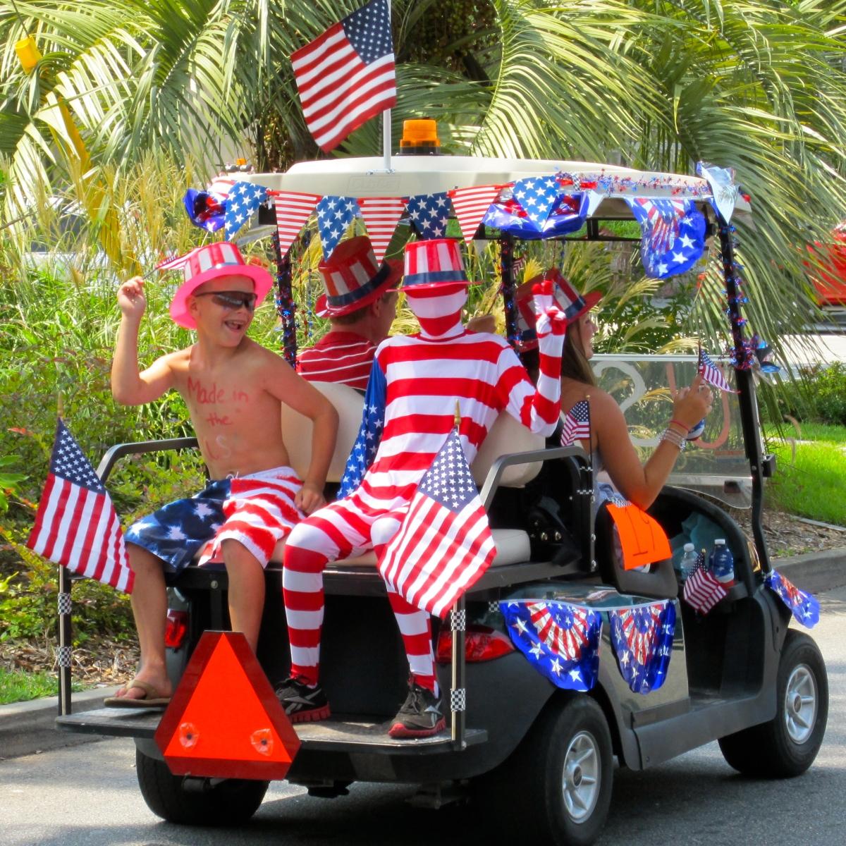 Flip-flops, Flags, and Fireworks | GALLIVANCE on betty boop july 4th, golf cart decorating ideas, golf cart christmas sleigh,
