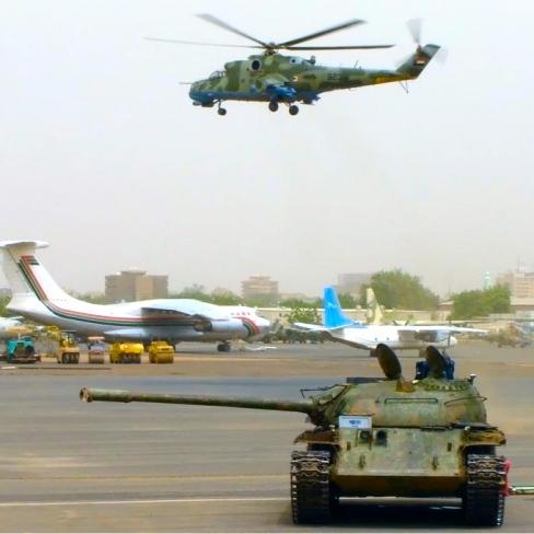 Tanks on Runway in Khartoum