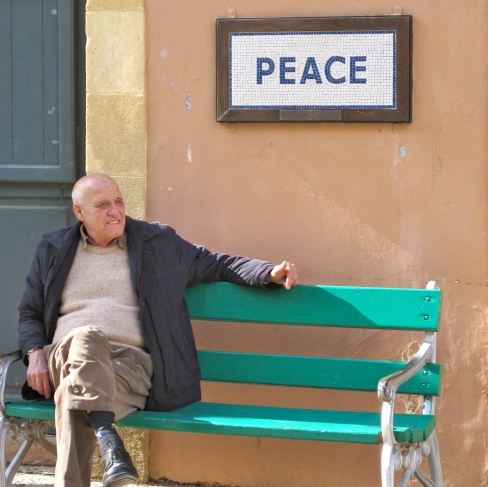 Man on Peace Bench