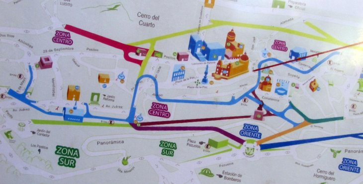 The brightly colored lines represent the labyrinthine tunnel system of Guanajuato.