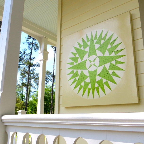 Green Quilt on Porch