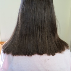 """Nancy's """"After"""" shot when I cut off the 12"""" ponytail. Still a little trimming to do."""