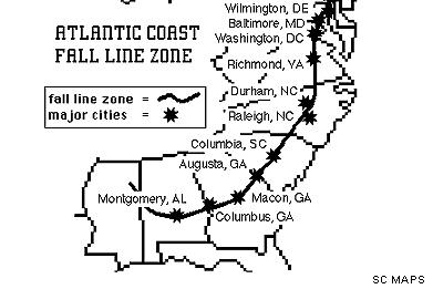 Fall Line Cities GALLIVANCE - Georgia map fall line