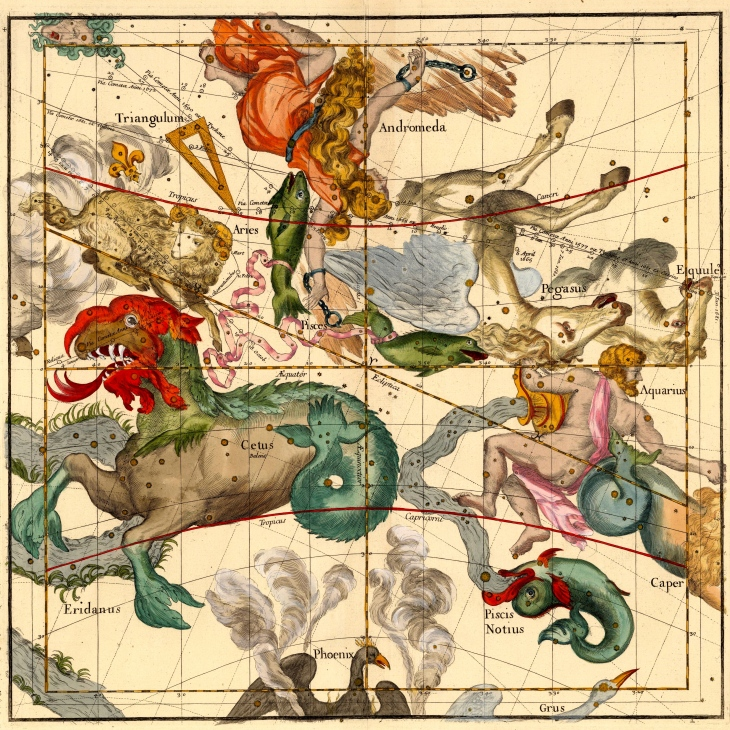 "Celestial Atlas by Ignace Gaston Pardies, published in 1693. This is 1 of 6 pages and is: ""one of the most stunning"