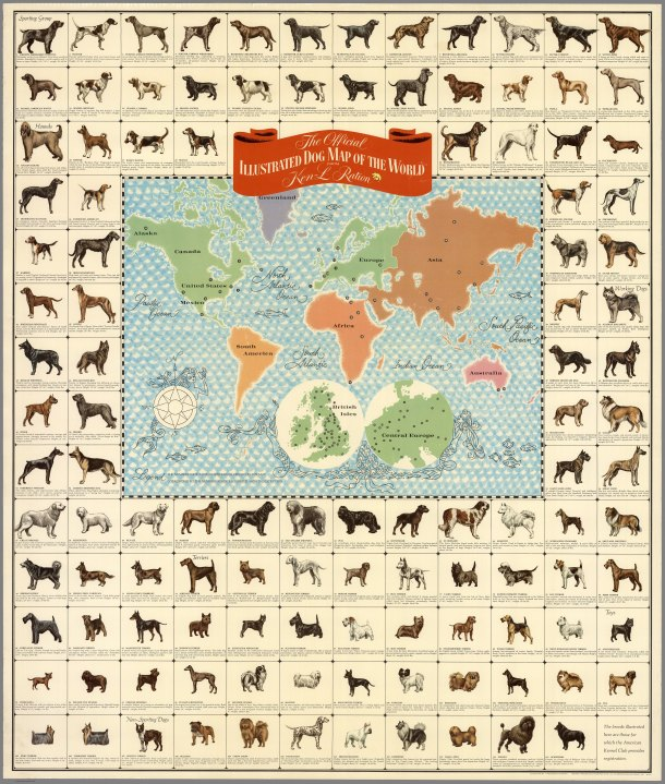 Quaker Oats Illustrated Dog Map of the world - zoom in for wonderful summary characteristics of each breed.