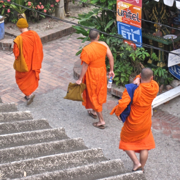 Monks with water