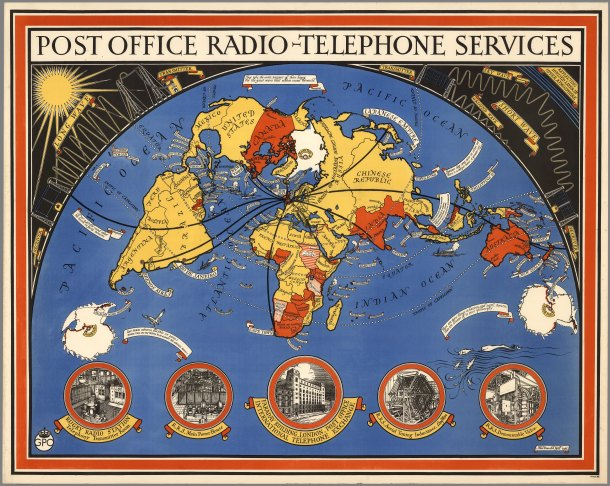 """Radio-Telephone services from London in 1935. """"They take the rustic murmur of their bourg, For the great wave that echoes round the world."""" —Tennyson"""
