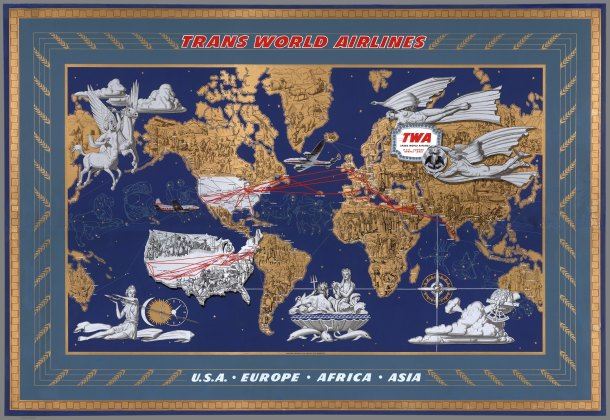 TWA poster: from 1946 showing TWA's principle routes. Note the mythological and zodiac scenes, as well as details from each country
