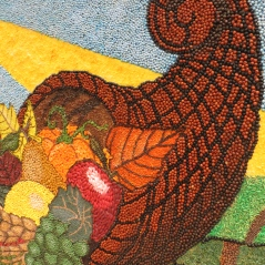 Can you believe this cornucopia is created entirely of seeds?