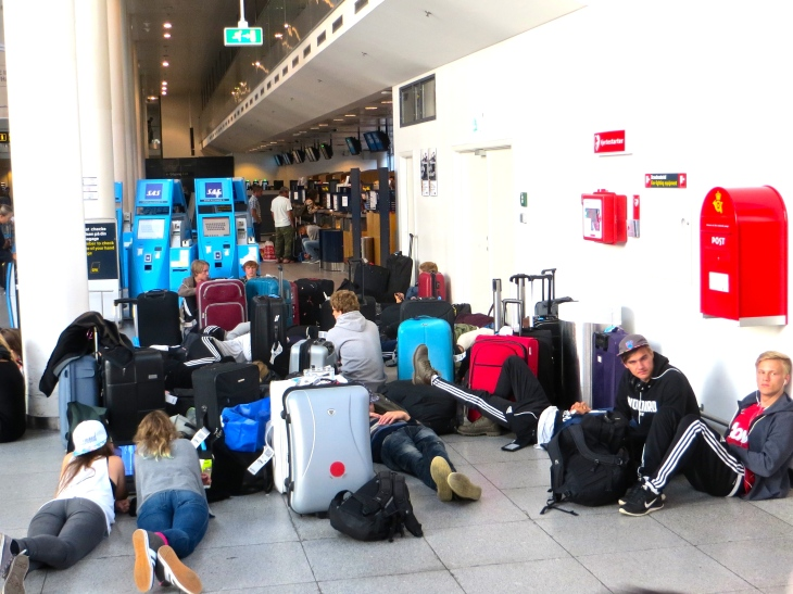 Travelers in Copenhagen Airport