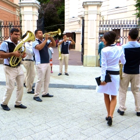 A raucous brass band provided the entertainment before the wedding.