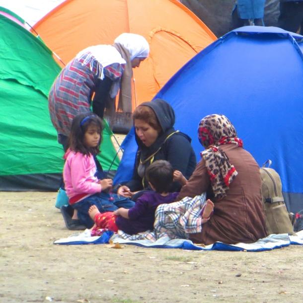 Refugee Family in Belgrade Tent City