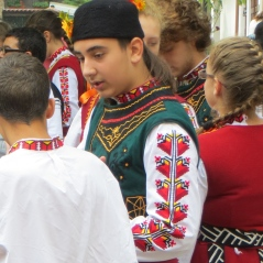 Dancer in Plovdiv, Bulgaria wearing his heart on his sleeve.