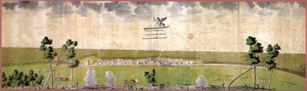 """""""Veüe et Perspective de la Nouvelle Orleans"""" (View & Perspective of New Orleans), 1726."""