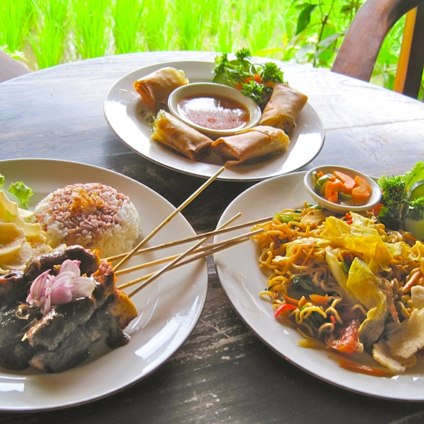 Lumpia, Chicken Sate, Mie Goring