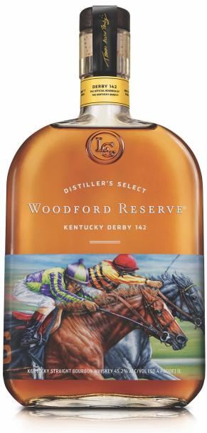 Triple Crown Winner American Pharoah Label on Woodford Reserve Bourbon Bottle