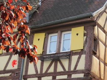 Half-Timbered House with heart shutters in Colmar, France