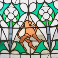 Stained glass hearts. Edinburgh, Scotland