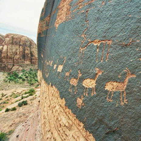 Petroglyph of a caravan of bighorn sheep near Moab, Utah