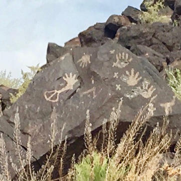 Hands in Petroglyph National Monument, Albuquerque, New Mexico's West Mesa