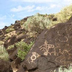 People in Petroglyph National Monument, Albuquerque, New Mexico's West Mesa